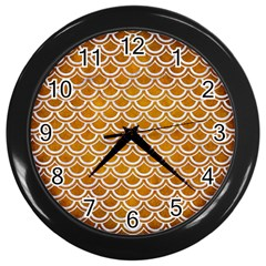 SCALES2 WHITE MARBLE & YELLOW GRUNGE Wall Clocks (Black)