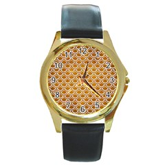 SCALES2 WHITE MARBLE & YELLOW GRUNGE Round Gold Metal Watch
