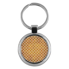 SCALES2 WHITE MARBLE & YELLOW GRUNGE Key Chains (Round)