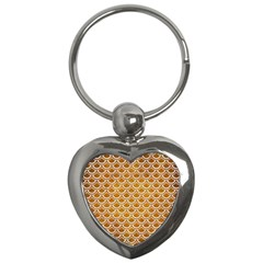 SCALES2 WHITE MARBLE & YELLOW GRUNGE Key Chains (Heart)