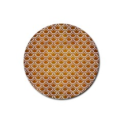 SCALES2 WHITE MARBLE & YELLOW GRUNGE Rubber Round Coaster (4 pack)