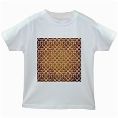 SCALES2 WHITE MARBLE & YELLOW GRUNGE Kids White T-Shirts