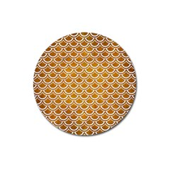 SCALES2 WHITE MARBLE & YELLOW GRUNGE Magnet 3  (Round)