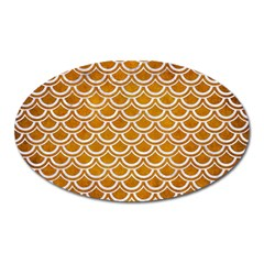 SCALES2 WHITE MARBLE & YELLOW GRUNGE Oval Magnet