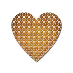 SCALES2 WHITE MARBLE & YELLOW GRUNGE Heart Magnet