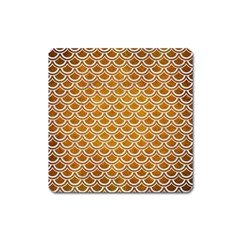 SCALES2 WHITE MARBLE & YELLOW GRUNGE Square Magnet