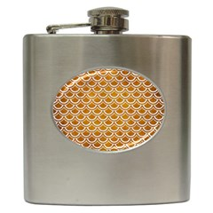 SCALES2 WHITE MARBLE & YELLOW GRUNGE Hip Flask (6 oz)