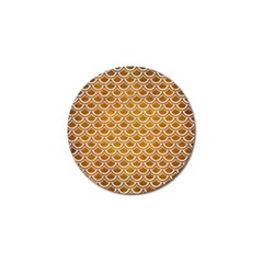 SCALES2 WHITE MARBLE & YELLOW GRUNGE Golf Ball Marker (4 pack)