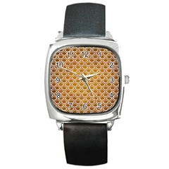 SCALES2 WHITE MARBLE & YELLOW GRUNGE Square Metal Watch