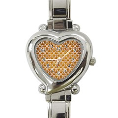 SCALES2 WHITE MARBLE & YELLOW GRUNGE Heart Italian Charm Watch