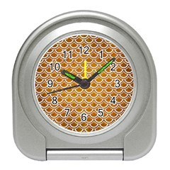 SCALES2 WHITE MARBLE & YELLOW GRUNGE Travel Alarm Clocks