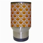 SCALES2 WHITE MARBLE & YELLOW GRUNGE Travel Mugs (White) Center
