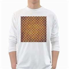 SCALES2 WHITE MARBLE & YELLOW GRUNGE White Long Sleeve T-Shirts