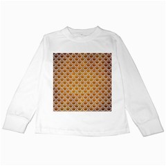 SCALES2 WHITE MARBLE & YELLOW GRUNGE Kids Long Sleeve T-Shirts
