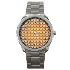 SCALES2 WHITE MARBLE & YELLOW GRUNGE Sport Metal Watch