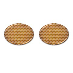 SCALES2 WHITE MARBLE & YELLOW GRUNGE Cufflinks (Oval)