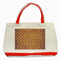 SCALES2 WHITE MARBLE & YELLOW GRUNGE Classic Tote Bag (Red)