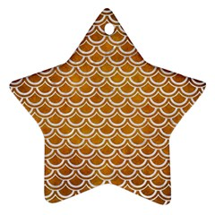 SCALES2 WHITE MARBLE & YELLOW GRUNGE Star Ornament (Two Sides)