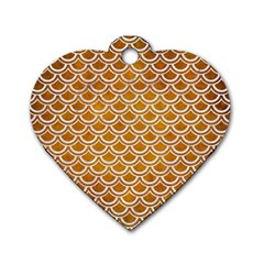 SCALES2 WHITE MARBLE & YELLOW GRUNGE Dog Tag Heart (Two Sides)