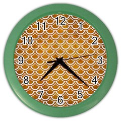 SCALES2 WHITE MARBLE & YELLOW GRUNGE Color Wall Clocks