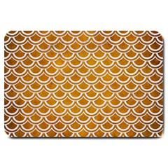 SCALES2 WHITE MARBLE & YELLOW GRUNGE Large Doormat