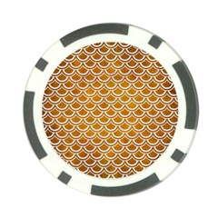 SCALES2 WHITE MARBLE & YELLOW GRUNGE Poker Chip Card Guard