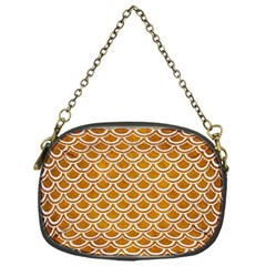 SCALES2 WHITE MARBLE & YELLOW GRUNGE Chain Purses (One Side)