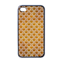 SCALES2 WHITE MARBLE & YELLOW GRUNGE Apple iPhone 4 Case (Black)