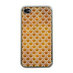 SCALES2 WHITE MARBLE & YELLOW GRUNGE Apple iPhone 4 Case (Clear)