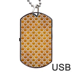 SCALES2 WHITE MARBLE & YELLOW GRUNGE Dog Tag USB Flash (Two Sides)