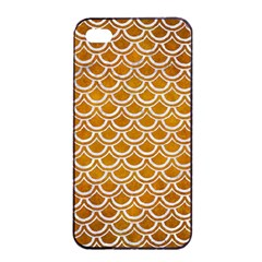 SCALES2 WHITE MARBLE & YELLOW GRUNGE Apple iPhone 4/4s Seamless Case (Black)