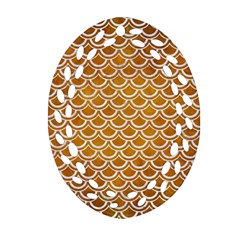 SCALES2 WHITE MARBLE & YELLOW GRUNGE Oval Filigree Ornament (Two Sides)