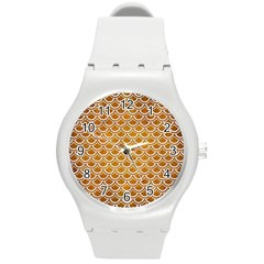SCALES2 WHITE MARBLE & YELLOW GRUNGE Round Plastic Sport Watch (M)