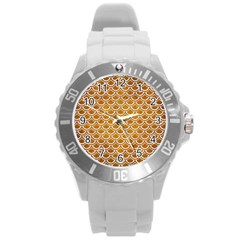 SCALES2 WHITE MARBLE & YELLOW GRUNGE Round Plastic Sport Watch (L)