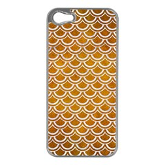 SCALES2 WHITE MARBLE & YELLOW GRUNGE Apple iPhone 5 Case (Silver)