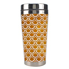 SCALES2 WHITE MARBLE & YELLOW GRUNGE Stainless Steel Travel Tumblers