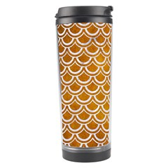 Scales2 White Marble & Yellow Grunge Travel Tumbler by trendistuff