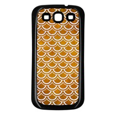 SCALES2 WHITE MARBLE & YELLOW GRUNGE Samsung Galaxy S3 Back Case (Black)