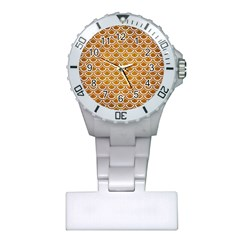 SCALES2 WHITE MARBLE & YELLOW GRUNGE Plastic Nurses Watch