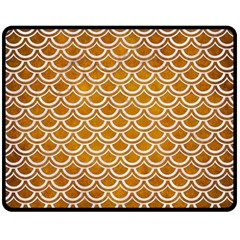 SCALES2 WHITE MARBLE & YELLOW GRUNGE Double Sided Fleece Blanket (Medium)
