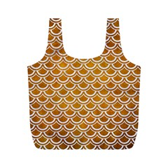 SCALES2 WHITE MARBLE & YELLOW GRUNGE Full Print Recycle Bags (M)