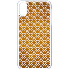 SCALES2 WHITE MARBLE & YELLOW GRUNGE Apple iPhone X Seamless Case (White)