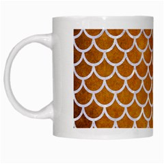 Scales1 White Marble & Yellow Grunge White Mugs by trendistuff