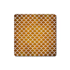 Scales1 White Marble & Yellow Grunge Square Magnet by trendistuff