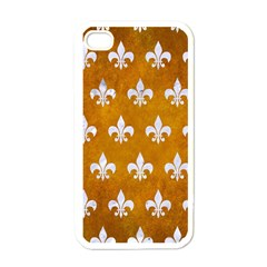 Royal1 White Marble & Yellow Grunge (r) Apple Iphone 4 Case (white) by trendistuff