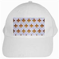 Royal1 White Marble & Yellow Grunge White Cap by trendistuff