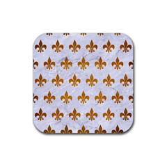 Royal1 White Marble & Yellow Grunge Rubber Square Coaster (4 Pack)  by trendistuff