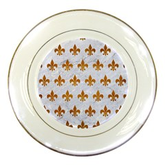 Royal1 White Marble & Yellow Grunge Porcelain Plates by trendistuff