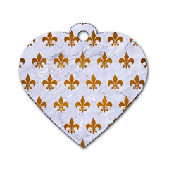 Royal1 White Marble & Yellow Grunge Dog Tag Heart (one Side) by trendistuff