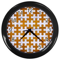 Puzzle1 White Marble & Yellow Grunge Wall Clocks (black) by trendistuff